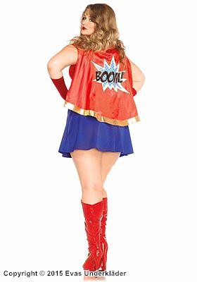Wonder Women-klänning, maskeraddräkt i 3 delar, plus size